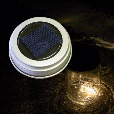 メイソンジャー 替え蓋 LEDソーラーライト シルバー 蓄電 防滴