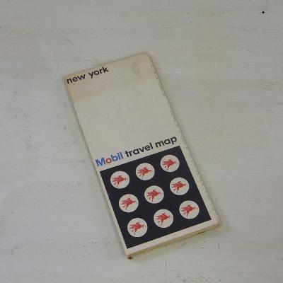 ヴィンテージ マップ モービルトラベルマップ アメリカ 地図 New York メール便・ネコポス便可【USED】