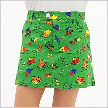 LQ CAMP柄一体ペチ付スカート