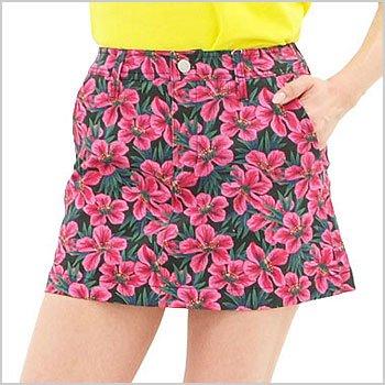 ジャックバニー ゴルフウェアレディース Flower柄ストレッチ台形スカート