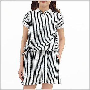 JB Stripe刺繍ペチ付半袖ワンピ