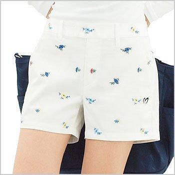 マスターバニー ゴルフウェアレディース Flower刺繍ショートパンツ