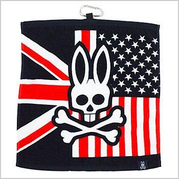 Psycho Bunny ゴルフウェアレディース UJ×ロゴ★フック付タオル