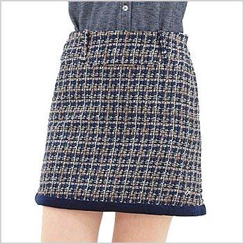 AP 異素材ラメ混チェック♪ペチ付スカート