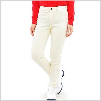 サムシング ゴルフウェアレディース すごく暖か裏起毛ストレッチパンツ(ホワイト)