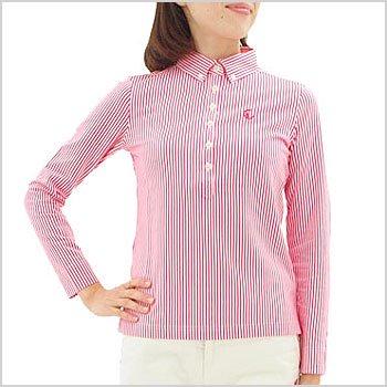 キャロウェイコレクション ゴルフウェアレディース Stripe柄シャツ風長袖ポロ