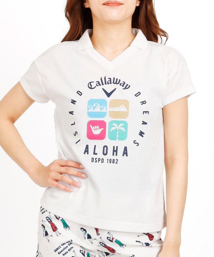 CA ALOHAアイコンプリント★UVドライ襟付半袖カットソー