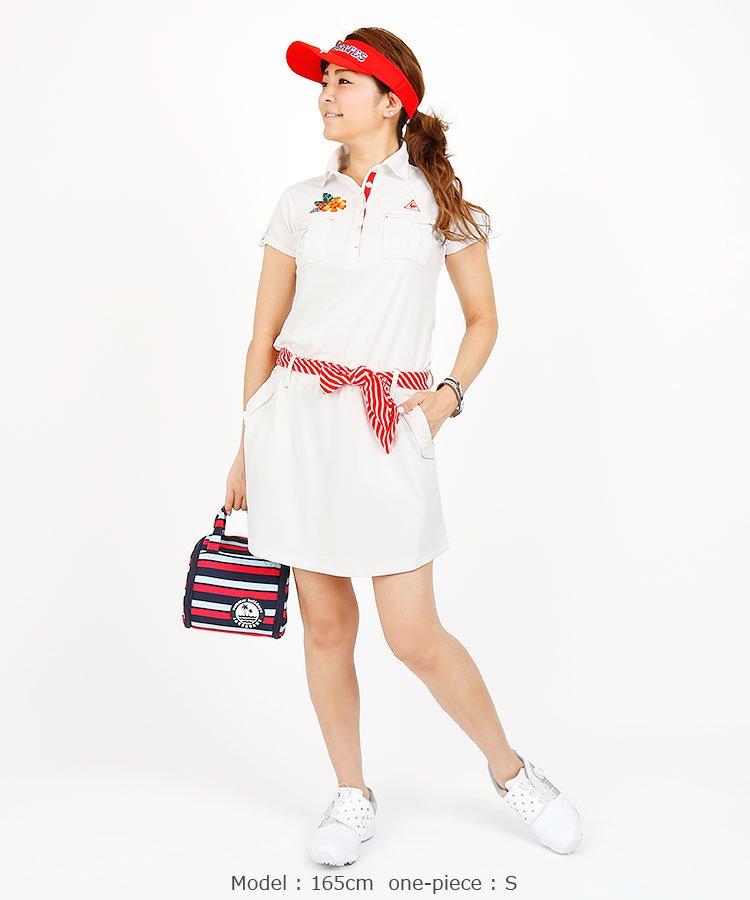 LQ Flowerポイント刺繍Borderベルト付半袖ワンピ