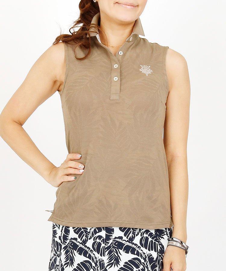 BEAMS GOLF 18夏の新作 ゴルフウェアレディース Leaf柄メッシュ立て衿Borderノースリーブポロ