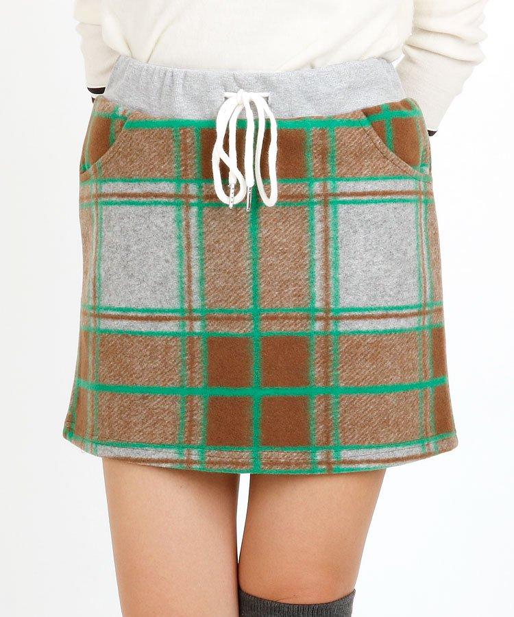EF チェック柄一体ペチ付き起毛スカート