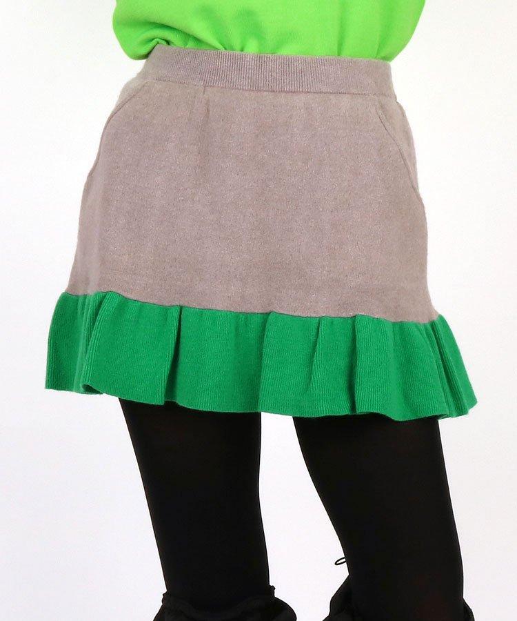 AI 裾バイカラーフレア♪一体ペチニットスカート