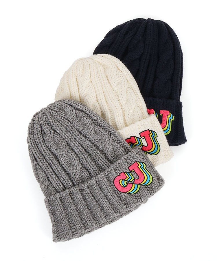 CJ カラフル「CJ」ロゴ入り★ケーブルニット帽