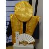 レンタルちゃんちゃんこ(金色/黄色・鶴亀柄) 皇寿のお祝いセット