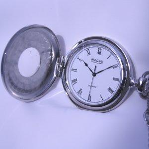パラジウムメッキ(シルバー)、カバータイプ、男性用、ローマスタイルロガール懐中時計