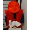 【Bセット】レンタルちゃんちゃんこ(赤・鶴亀柄)と作務衣還暦のお祝いセット