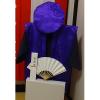 【Bセット】レンタルちゃんちゃんこ(紫・傘寿祝い・鶴亀柄)と作務衣セット