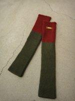 SIVA / ACC-KNT / WARP KNITTED LEG WARMERS / KHAKI&RED_rib