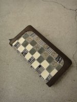 P3 / PIG SKIN PATCHWORK ROUND ZIP LONG WALLET / BEIGE