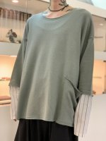 my beautiful landlet / cotton shirt sleeve L/S tee / Olive