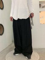 VOAAOV / linen rayon wide pants / Black