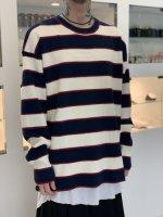 glamb / Oversize waffle border knit / White×Navy