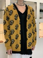 glamb×The Rolling Stones / Lips and Tongue cardigan / Mustard