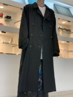 my beautiful landlet / cotton linen big trench / Black