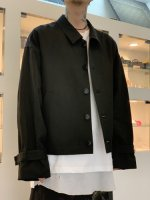 my beautiful landlet / cotton linen short blouson / Black