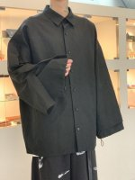 my beautiful landlet / cotton linen big shirt / Black