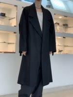my beautiful landlet / flannel wool wide long coat / Black