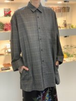 SUSPEREAL / check pattern patch shirts coat / Gray