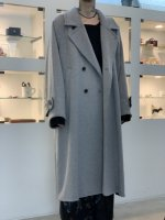 VOAAOV / soft wool beaver long coat / Gray