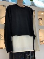 WIZZARD / DOCKING LAYERED KNIT / BLACK×WHITE