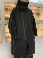 my beautiful landlet / taslan nylon down hooded coat / Black