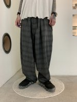 my beautiful landlet / wool back warp wide easy pants / Check