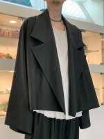 my beautiful landlet / COTTON LYOCEL&LINEN CANVAS WIDE JACKET / Black