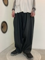 my beautiful landlet / COTTON LYOCEL&LINEN CANVAS BACKWARP WIDE EASY PANTS / Black