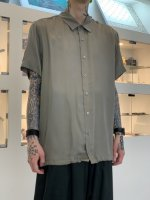 VOAAOV / CUPRO DYED TWILL H/S SHIRTS / Gray