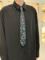 LAD MUSICIAN / POLYESTER TWILL FLOWER TIE / BLACK PURPLE