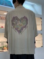 REVIVAL 90% PRODUCTS by Varde77 / JUNKIE HEART BOWLING SHIRTS 5-SLEEVE / LIGHT BROWN