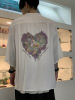 REVIVAL 90% PRODUCTS by Varde77 / JUNKIE HEART BOWLING SHIRTS 5-SLEEVE / WHITE