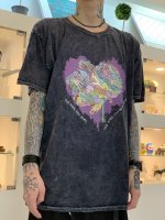 Varde77 / JUNKIE HEART DYED T-SHIRTS / BLACK