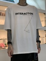 """WIZZARD / ARCHIVE GRAPHIC T-SHIRT """"INTERACTION"""" / WHITE×BLACK"""