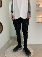 SUSPEREAL / Stretch tite tapered rib cargo pants / Black