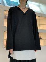 VOAAOV / Wool Ring Jersey V-neck tops / Black