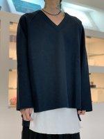 VOAAOV / Wool Ring Jersey V-neck tops / Navy