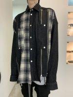【予約商品】A.F ARTEFACT / Front Zip asymmetry Check CombiCocoon Shirts / 2月発売予定 / 21年 10/31 〆切