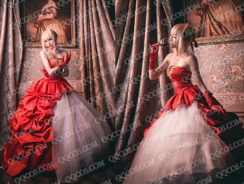 FATE/ZERO風 TYPE,MOON 10周年 ネロ 赤いドレス コスプレ衣装