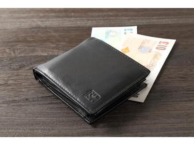 牛革 2つ折財布 H・U・N・T 高級 hunt ハント 本革折財布 ブラック カード収納 小銭入れ プレゼントに人気