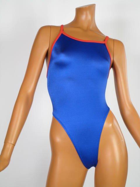 LH19-1-8スクール水着競泳水着ハイレグ水着フルバック(ロイヤルブルーパイピングレッド)
